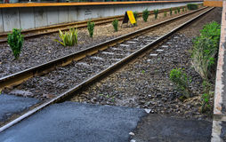 An empty railway track with bush on side photo taken in Duri Tangerang station indonesia. Java Royalty Free Stock Images