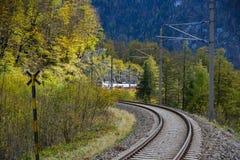 Empty railway tracks in Hallstatt, Austria stock photography