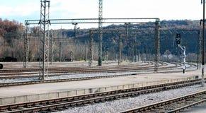 Empty railway tracks. Knin, Croatia. Railway station in Knin, Croatia, with many empty tracks Royalty Free Stock Images