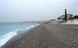 Empty rainy beach scenic view,Nice Royalty Free Stock Photo