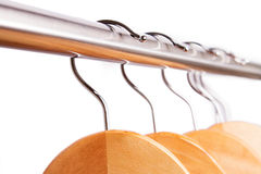Empty raw of hangers isolated on white Royalty Free Stock Image