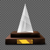 Empty realistic glass trophy awards vector statue. Stock Image