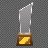Empty realistic glass trophy awards vector statue. Royalty Free Stock Images