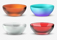 Empty realistic vector food bowls. Plastic, glass and porcelain kitchen dishware set. Bowl for food, glass dishware empty collection Stock Image
