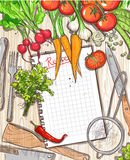 Empty recipe list frame with healthy organic vegetables and kitchen utensil Royalty Free Stock Photography
