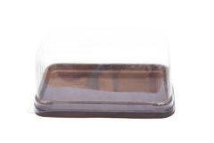 Empty rectangle  brown bakery plastic package Stock Photos