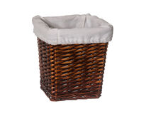 Empty rectangle wicker basket with liner isolated on white Royalty Free Stock Images