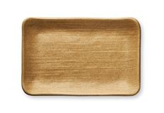 Empty rectangular plate in natural wood texture, View from above isolated on white background with clipping path Stock Images