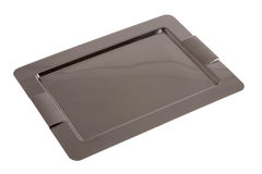 Empty rectangular stainless steel tray Royalty Free Stock Photos