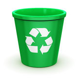 Empty recycle bin. Creative abstract paper recycling, environment protection and nature saving business concept: empty green office recycle bin with recyclable Stock Photo