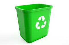 Empty recycle green bin Royalty Free Stock Images