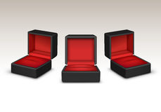 Empty Red And Black Velvet Opened Gift Jewelry Boxes Isolated Royalty Free Stock Images