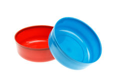 Empty red and blue bowl isolated on white Stock Photos