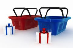 Empty red and blue plastic shopping baskets with boxes of gifts Royalty Free Stock Photos