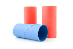 Empty red and blue toilet paper rolls Royalty Free Stock Images