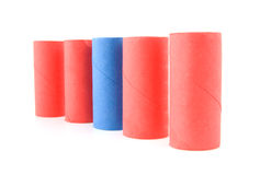 Empty red and blue toilet paper rolls Royalty Free Stock Photography