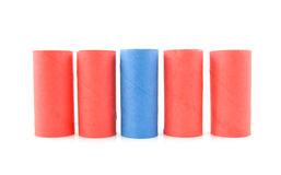 Empty red and blue toilet paper rolls Stock Image