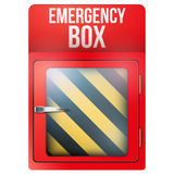 Empty red box with in case of emergency. Empty red emergency box with in case of emergency breakable glass. Square format. Rescue illustration Isolated on white Stock Images