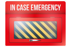 Empty red box with in case of emergency. Empty red emergency box with in case of emergency breakable glass. Vector illustration Isolated on white background Stock Photography
