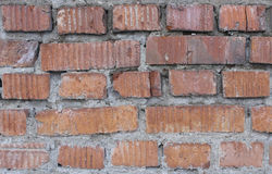 Empty Red Brick Wall. Texture of a brick wall with red bricks stock photos