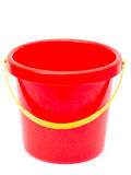 Empty red bucket. Empty plastic red bucket, isolated Royalty Free Stock Photos
