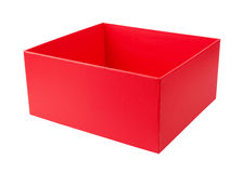 Empty red cardboard box. Isolated on white background Royalty Free Stock Photos