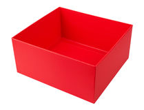 Empty red cardboard box. Isolated on white background Stock Photography
