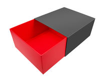 Empty red cardboard box. Isolated on white background Stock Image
