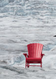Empty Red Chair with Glacier Royalty Free Stock Photos
