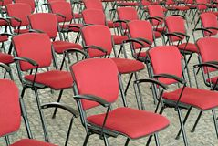 Empty Red Chairs In Auditorium Stock Images