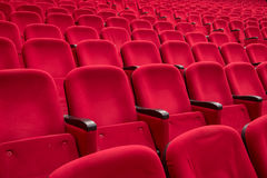 Empty red cinema or theater seats Stock Images