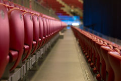 Empty Red Concert Chairs. Rows of empty red concert chairs Royalty Free Stock Photos