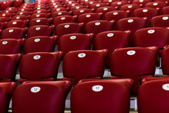 Empty Red Concert Chairs. Rows of empty red concert chairs Stock Photo