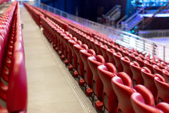 Empty Red Concert Chairs. Rows of empty red concert chairs Stock Photos