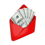 Empty red cover with dollars inside. Royalty Free Stock Photography