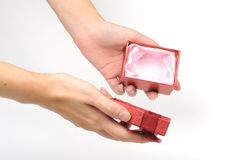 Empty red gift box Royalty Free Stock Photography