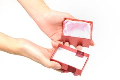 Empty red gift box Royalty Free Stock Image