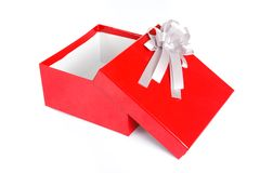 An empty red gift box with the lid off. On white background Royalty Free Stock Image