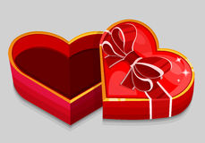 Empty red heart box Stock Photos
