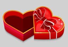 Empty red heart box Stock Photos
