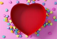 Empty red heart shaped box with mini hearts on pink background Royalty Free Stock Photos