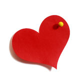 Empty red hert-shaped sticker on white Stock Photos