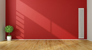 Empty Red Living Room Royalty Free Stock Photo