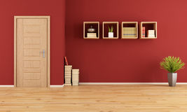 Empty red living room Royalty Free Stock Photography