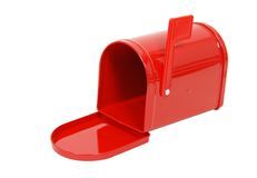Empty Red Mailbox Stock Photo