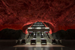 Empty red metro strairs in Stockholm. Royalty Free Stock Photos