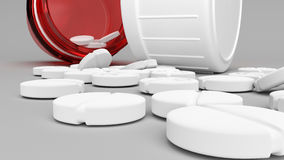 Empty red pill bottle and white pills. Open red pill bottle and white pills on the ground in front of it 3D illustration Royalty Free Stock Photography