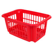 Empty red plastic basket isolated Stock Photography