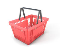 Empty red plastic shopping basket clipping path Stock Photography