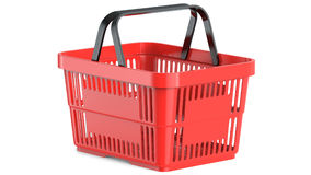 An empty red plastic shopping basket, 3d illustration. 3D render, isolated on white background Stock Images